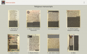 Captura de pantalla de la aplicación con los manuscritos disponibles