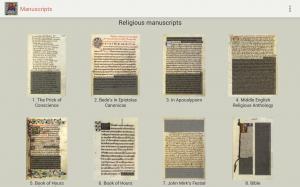 Captura de pantalla de la aplicación con los manuscritos disponibles
